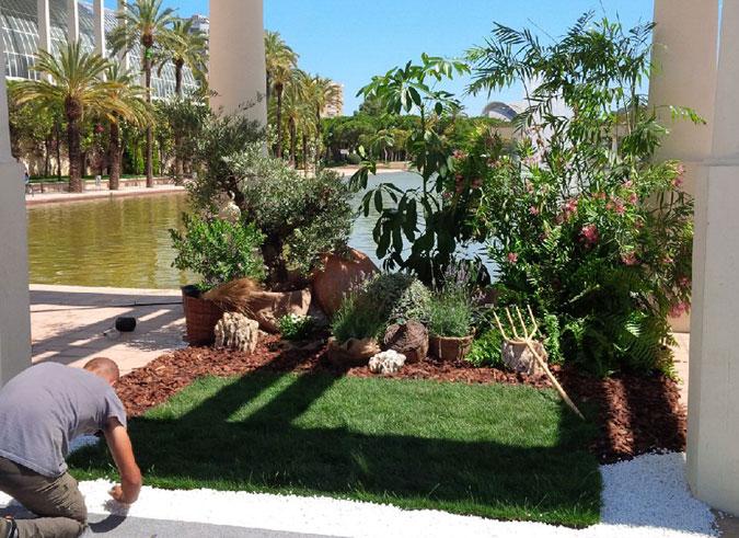 Decoración de jardinería para actos falleros