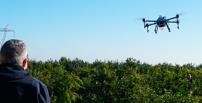 Tratamientos agricolas con dron